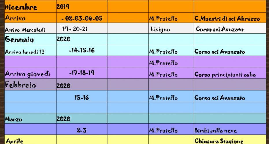 Calendario Stagione 2019-2020