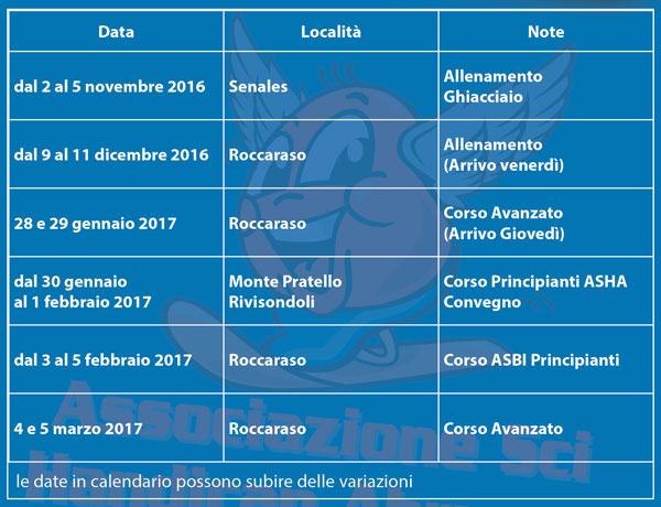 Calendario stagionale 2015 2016
